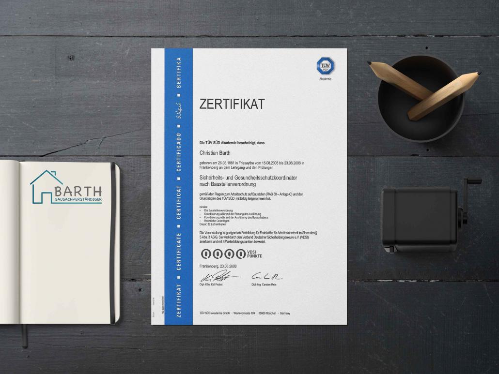 SiGeKo TÜV Süd Zertifikat Christian Barth