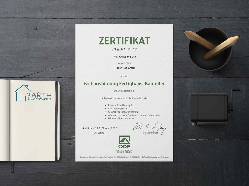 Zertifikat Fachausbildung Fertighaus-Bauleiter Christian Barth