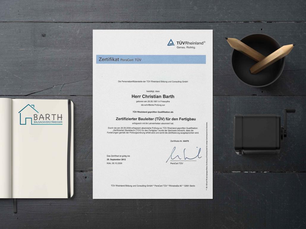 Bauleiter Zertifikat Christian Barth Tüv Rheinland